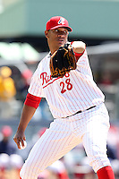 Reading Phillies starting pitcher J.C. Ramirez #28 delivers a pitch during a game against the New Hampshire Fisher Cats at FirstEnergy Stadium on May 5, 2011 in Reading, Pennsylvania.  New Hampshire defeated Reading by the score of 10-5.  Photo By Mike Janes/Four Seam Images