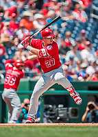 16 August 2017: Los Angeles Angels outfielder Mike Trout in action against the Washington Nationals at Nationals Park in Washington, DC. The Angels defeated the Nationals 3-2 to split their 2-game series. Mandatory Credit: Ed Wolfstein Photo *** RAW (NEF) Image File Available ***