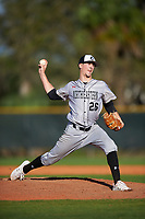 Northeastern Huskies starting pitcher Brandon Dufault (26) during a game against the South Dakota State Jackrabbits on February 23, 2019 at North Charlotte Regional Park in Port Charlotte, Florida.  Northeastern defeated South Dakota State 12-9.  (Mike Janes/Four Seam Images)