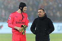 Petr Cech of Arsenal and Swansea manager Carlos Carvalhal during the Premier League soccer match between Swansea City and Arsenal at the Liberty Stadium, Swansea, Wales, UK. Tuesday 30 January 2018