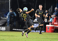 LAKE BUENA VISTA, FL - JULY 18: Eduard Atuesta #20 of LAFC takes the ball off his chest during a game between Los Angeles Galaxy and Los Angeles FC at ESPN Wide World of Sports on July 18, 2020 in Lake Buena Vista, Florida.