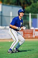 Danny Klassen of the Stockton Ports runs the bases during batting practice before a 1996 baseball season game against the San Bernardino Spirit at Fiscallini Field in San Bernardino, California. (Larry Goren/Four Seam Images)
