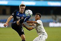SAN JOSE, CA - SEPTEMBER 5: Tommy Thompson #22 of the San Jose Earthquakes is defended by Jonathan Lewis during a game between Colorado Rapids and San Jose Earthquakes at Earthquakes Stadium on September 5, 2020 in San Jose, California.