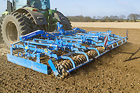 Lemken Kompaktor preparing sugar beet seed bed - Norfolk, March