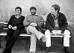 GIANNI MORANDI CON LUCIO DALLA E RON<br /> STUDI DEL RAC ROMA 1980