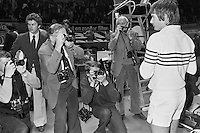 1978,Netherlands,ABN tennis Tournament, Rotterdam,Jimmy Connors surrounded by photographers