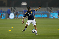 SAN JOSE, CA - SEPTEMBER 13: Emiliano Insua #3 of the Los Angeles Galaxy during warmups at Earthquakes Stadium on September 13, 2020 in San Jose, California.
