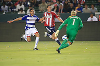 Chivas USA forward Justin Braun (17) attempts to get a shot past FC Dallas goalie during the second half of game between Chivas USA and FC Dallas at the Home Depot Center in Carson CA on June 26 2010. FC Dallas 2, Chivas USA 1.