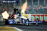 Brandon Bernstein (7) drive for the Copart Top Fuel Dragster team makes a pass during the O'Reilly Auto Parts Spring Nationals at the Royal Purple Raceway in Baytown,Texas.