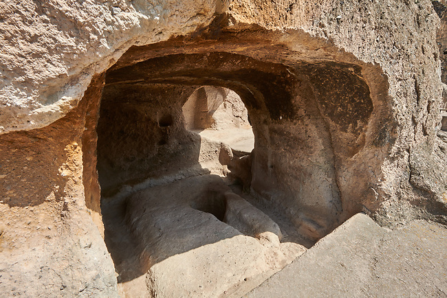 Picture & image of Vardzia medieval cave interior of the city and monastery, Erusheti Mountain, southern Georgia (country)<br /> <br /> Inhabited from the 5th century BC, the first identifiable phase of building took place at  Vardzia in the reign of Giorgi III (1156-1184) to be continued by his successor, Queen Tamar 1186, when the Church of the Dormition was carved out of the rock and decorated with frescoes