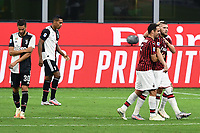 Ante Rebic of AC Milan celebrates with team mates after scoring the goal of 4-2 during the Serie A football match between AC Milan and Juventus FC at stadio San Siro in Milan ( Italy ), July 7th, 2020. Play resumes behind closed doors following the outbreak of the coronavirus disease. <br /> Photo Matteo Gribaudi / Image  / Insidefoto
