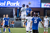 SAN JOSE, CA - MAY 15: Dairon Asprilla #27 of the Portland Timbers competes for a header with Jack Skahan #16 of the San Jose Earthquakes during a game between San Jose Earthquakes and Portland Timbers at PayPal Park on May 15, 2021 in San Jose, California.