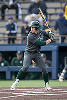 Michigan State Spartans outfielder Casey Mayes (32) at bat in the NCAA baseball game against the Michigan Wolverines on May 7, 2019 at Ray Fisher Stadium in Ann Arbor, Michigan. Michigan defeated Michigan State 7-0. (Andrew Woolley/Four Seam Images)