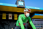Mads Pedersen (DEN) Trek-Segafredo wearing the Green Jersey at sign on before Stage 2 of Paris-Nice 2021, running 188km from Oinville-sur-Montcient to Amilly, France. 8th March 2021.<br /> Picture: ASO/Fabien Boukla | Cyclefile<br /> <br /> All photos usage must carry mandatory copyright credit (© Cyclefile | ASO/Fabien Boukla)