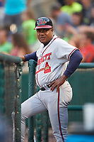 Gwinnett Braves coach Jose Mota (13) during a game against the Buffalo Bisons on August 19, 2017 at Coca-Cola Field in Buffalo, New York.  Gwinnett defeated Buffalo 1-0.  (Mike Janes/Four Seam Images)