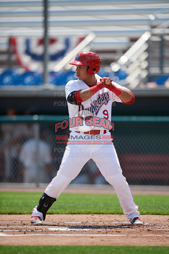 Auburn Doubledays left fielder Oliver Ortiz (9) at bat during the first game of a doubleheader against the Mahoning Valley Scrappers on July 2, 2017 at Falcon Park in Auburn, New York.  Mahoning Valley defeated Auburn 3-0.  (Mike Janes/Four Seam Images)
