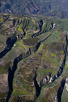 aerial photograph of mountainside farming in spring outside of La Conchita, Ventura County, California
