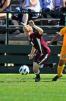 18 September 2011: Harvard University Crimson Forward Connor McCarthy, a Sophomore from Ridgefield, CT, in action against the University of Vermont Catamounts at Centennial Field in Burlington, Vermont. The Catamounts shut out the visiting Crimson 1-0, earning their 3rd straight victory of the 2011 season. Mandatory Credit: Ed Wolfstein Photo