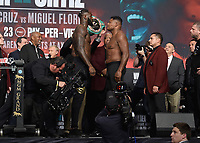 LAS VEGAS - NOVEMBER 22:  Deontay Wilder and Luis Ortiz attend the weigh in for the November 23 fight on the Fox Sports PBC Pay-Per-View Fight Night on November 22, 2019 in. Las Vegas, Nevada. (Photo by Scott Kirkland/Fox Sports/PictureGroup)