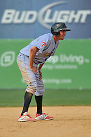 Kelly Dugan (11) of the Reading Fightin Phils leads off second base during a game against the New Britain Rock Cats at New Britain Stadium on July 13, 2014 in New Britain, Connecticut. Reading defeated New Britain 6-4.  (Gregory Vasil/Four Seam Images)