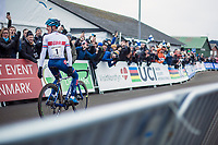 A dominant Ben Tulett (GBR) wins the Men's Junior race<br /> <br /> Men's junior race<br /> <br /> UCI 2019 Cyclocross World Championships<br /> Bogense / Denmark<br /> <br /> ©kramon