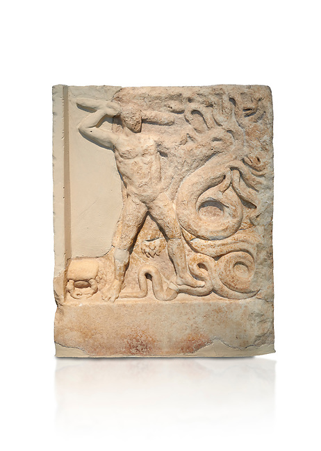 Ancient Greek relief panel depicting the slaying of the Lernaian Hydra from the Labours of Hercules, Mylos, 3rd Cent BC Athens National Archaeological Museum. Cat no 3617.   Against white.