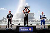 #5: Pato O'Ward, Arrow McLaren SP Chevrolet <br /> #10: Alex Palou, Chip Ganassi Racing Honda<br /> #2: Josef Newgarden, Team Penske Chevrolet<br /> Victory Lane, Podium