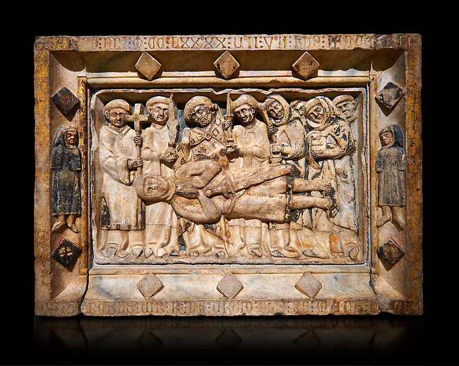 Gothic marble relief sculpture from the tomb of Ramon d'Urtx, died 1290, from the convent of Sant Domenee de Puigcerda, Cerdanya, Spain..  National Museum of Catalan Art, Barcelona, Spain, inv no: MNAC  64011. Against a black background.