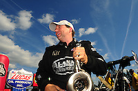 Aug. 7, 2011; Kent, WA, USA; NHRA top fuel dragster driver Del Worsham celebrates after winning the Northwest Nationals at Pacific Raceways. Mandatory Credit: Mark J. Rebilas-