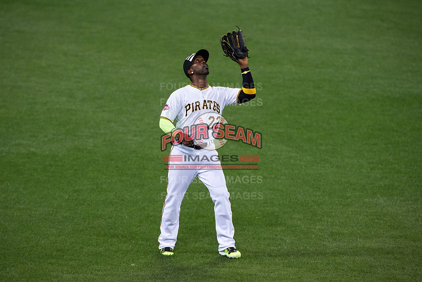 Pittsburgh Pirates outfielder Andrew McCutchen catches a fly ball during the MLB All-Star Game on July 14, 2015 at Great American Ball Park in Cincinnati, Ohio.  (Mike Janes/Four Seam Images)