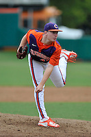 Sophomore pitcher Alex Schnell (47) of the Clemson Tigers in a fall practice intra-squad Orange-Purple scrimmage on Sunday, September 27, 2015, at Doug Kingsmore Stadium in Clemson, South Carolina. (Tom Priddy/Four Seam Images)