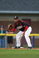 Batavia Muckdogs first baseman Erwin Almonte (25) during a game against the Lowell Spinners on August 12, 2015 at Dwyer Stadium in Batavia, New York.  Batavia defeated Lowell 6-4.  (Mike Janes/Four Seam Images)
