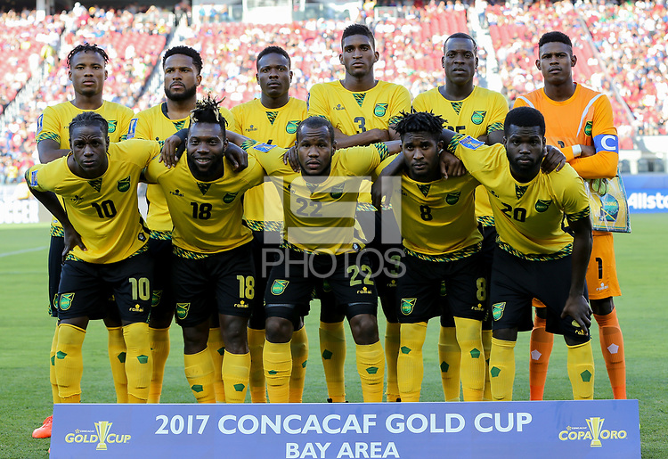 Santa Clara, CA - Wednesday July 26, 2017: Jamaica starting eleven during the 2017 Gold Cup Final Championship match between the men's national teams of the United States (USA) and Jamaica (JAM) at Levi's Stadium.