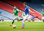 St Johnstone v Hibs…22.05.21  Scottish Cup Final Hampden Park<br />Callum Booth crosses the ball<br />Picture by Graeme Hart.<br />Copyright Perthshire Picture Agency<br />Tel: 01738 623350  Mobile: 07990 594431