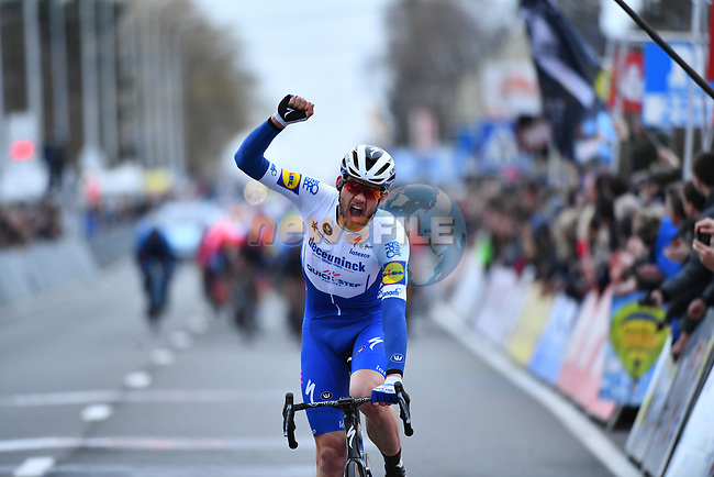 Kasper Asgreen (DEN) Deceuninck-Quick Step wins Kuurne-Brussel-Kuurne 2020, Belgium. 1st March 2020.<br /> Picture: Serge Waldbillig/cyclingpix.lu | Cyclefile<br /> <br /> All photos usage must carry mandatory copyright credit (© Cyclefile | cyclingpix.lu/Serge Waldbillig)