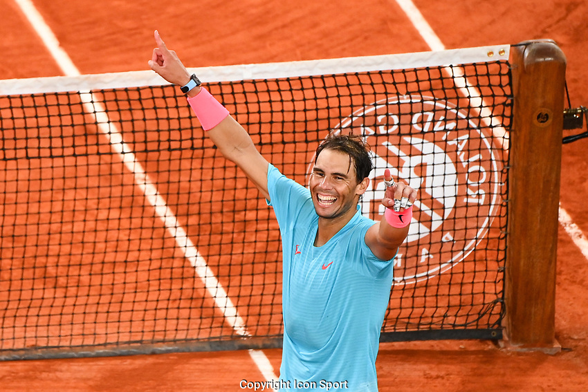 RAFAEL NADAL of Spain celebrates his victory during the day fifteen men's final Roland Garros on October 11, 2020 in Paris, France. (Photo by Anthony Dibon/Icon Sport) - Roland Garros - Paris (France)