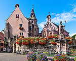 View of the Place du Château Saint-Léon, the main square in the wine center town of Eguisheim, Alsace