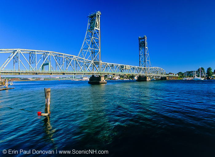 Memorial Bridge from Prescott Park. Crosses into Kittery Maine from Portsmouth, New Hampshire, USA. Crosses the Piscataque River..