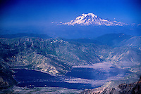 Mt. Rainier from Summit of Mt. St. Helens, Mt. St. Helens National Volcanic Monument, Washington, US