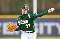 Starting pitcher Jason Harris (27) of the Charlotte 49ers in action against the High Point Panthers at Willard Stadium on February 20, 2013 in High Point, North Carolina.  The 49ers defeated the Panthers 12-3.  (Brian Westerholt/Four Seam Images)