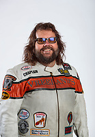 Feb 6, 2020; Pomona, CA, USA; NHRA top fuel nitro Harley Davidson motorcycle rider Rich Vreeland poses for a portrait during NHRA Media Day at the Pomona Fairplex. Mandatory Credit: Mark J. Rebilas-USA TODAY Sports