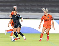 Mallory Pugh #9 of the Chicago Red Stars dribbles the ball around Rachel Daly #3 of the Houston Dash during a game between Chicago Red Stars and Houston Dash at BBVA Stadium on September 10, 2021 in Houston, Texas.