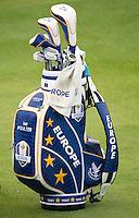 23.09.2014. Gleneagles, Auchterarder, Perthshire, Scotland.  The Ryder Cup.  Ian Poulter (EUR) bag.