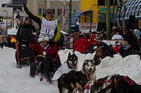 2010 Iditarod Ceremonial Start in Anchorage Alaska musher # 17 PAT MOON with Iditarider CLAUDIA NOWAK