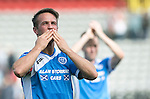Partick Thistle v St Johnstone…10.09.16..  Firhill  SPFL<br />Chris Millar celebartes with the fans at full time<br />Picture by Graeme Hart.<br />Copyright Perthshire Picture Agency<br />Tel: 01738 623350  Mobile: 07990 594431