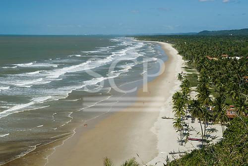 Bahia State, Brazil. Southern Bahia, Serra Grande beach (Praia da Pe, Pe de Serra Grande). Sunny sandy beach lined with palm trees. Between Ilheus and Itacare.