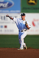 Connecticut Tigers second baseman Patrick Mackenzie (54) throws to first during the first game of a doubleheader against the Brooklyn Cyclones on September 2, 2015 at Senator Thomas J. Dodd Memorial Stadium in Norwich, Connecticut.  Brooklyn defeated Connecticut 7-1.  (Mike Janes/Four Seam Images)