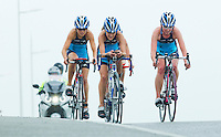 28 APR 2012 - LES SABLES D'OLONNE, FRA -  Laurie Belkadi (second from left) and Non Stanford (right) lead their TCG 79 Parthenay team mates during the prologue round of the French Grand Prix Series triathlon in Les Sables d'Olonne, France .(PHOTO (C) 2012 NIGEL FARROW)
