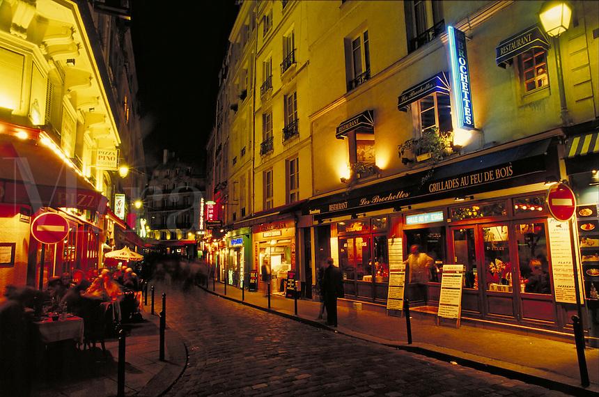 Paris, France. Latin Quarter at night. Paris, France Latin Quarter.