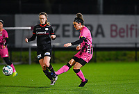 Madison Hudson (8) of Sporting Charleroi pictured passing in front of Geena Lisa Buyle (13) of Zulte-Waregem during a female soccer game between Sporting Charleroi and SV Zulte-Waregem on the 12 th matchday of the 2020 - 2021 season of Belgian Scooore Womens Super League , friday 29 th of January 2021  in Marcinelle , Belgium . PHOTO SPORTPIX.BE | SPP | DAVID CATRY